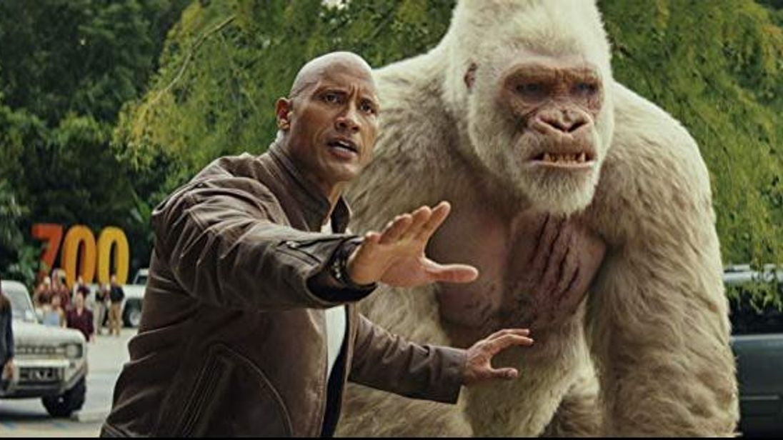 Johnson stars alongside a giant albino gorilla called George