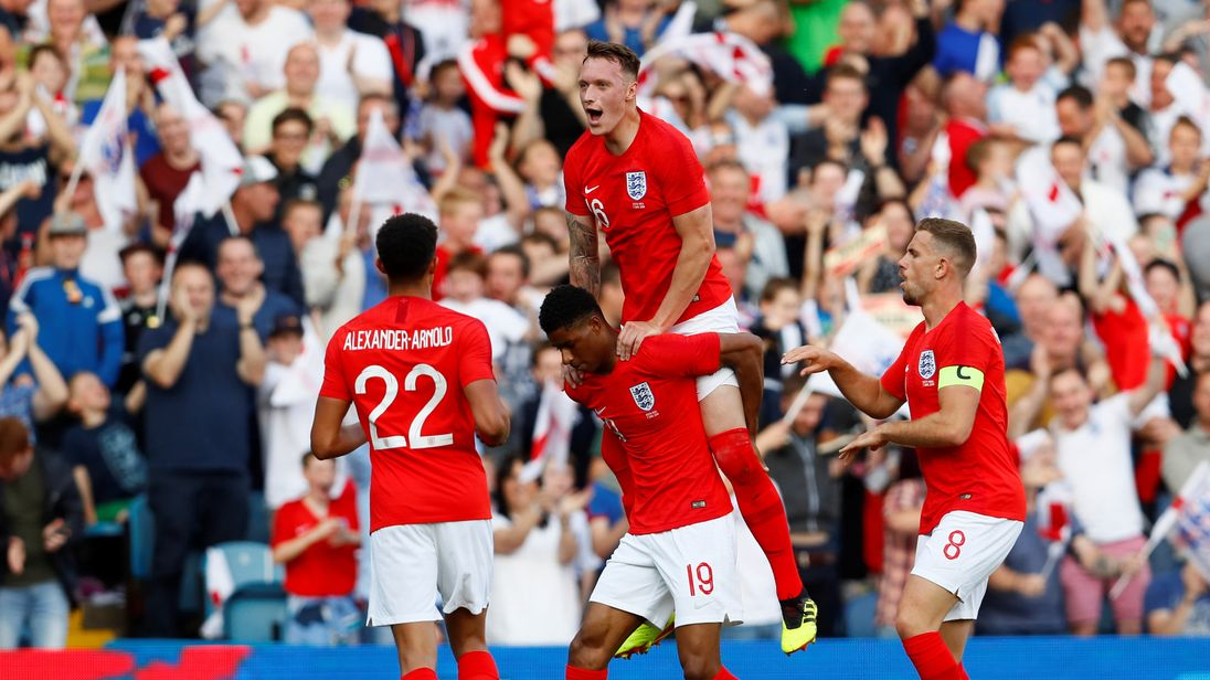 - England vs Costa Rica - Elland Road, Leeds, Britain - June 7, 2018 England's Marcus Rashford celebrates scoring their first goal with teammates Action Images via Reuters/Jason Cairnduff