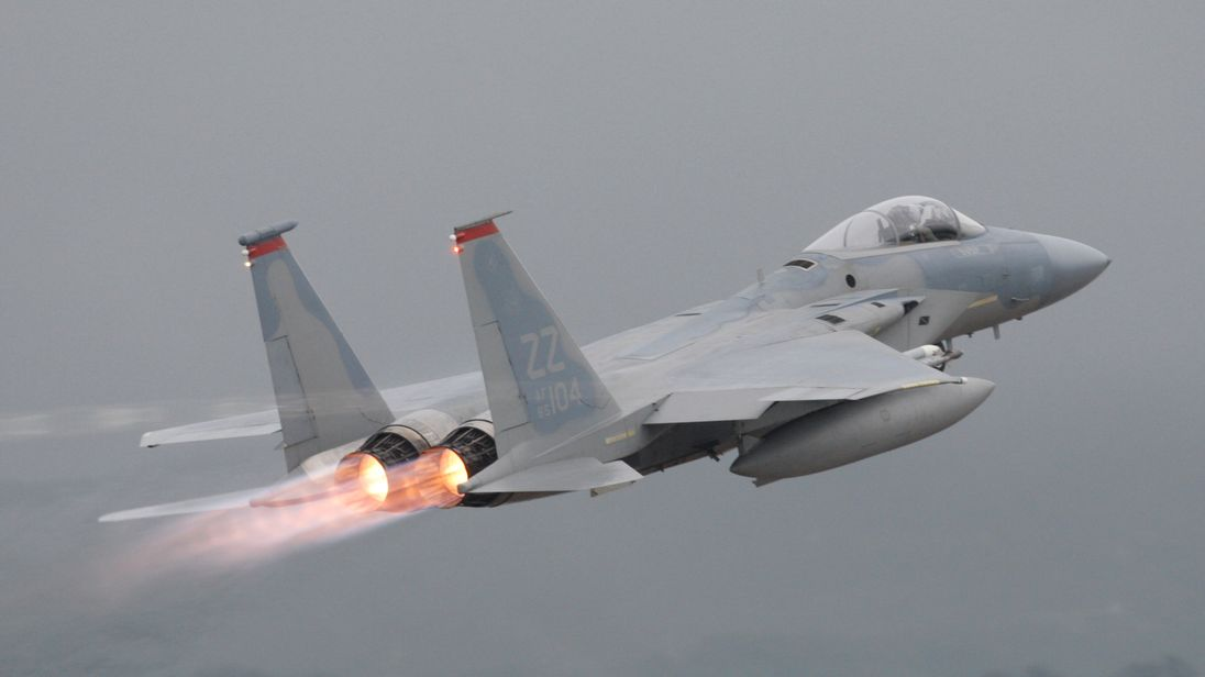 FILE PHOTO: A U.S. Air Force's F-15 aircraft takes off at Kadena U.S. Air Force Base on Japan's southwestern island of Okinawa June 16, 2009. REUTERS/Yuriko Nakao/File Photo