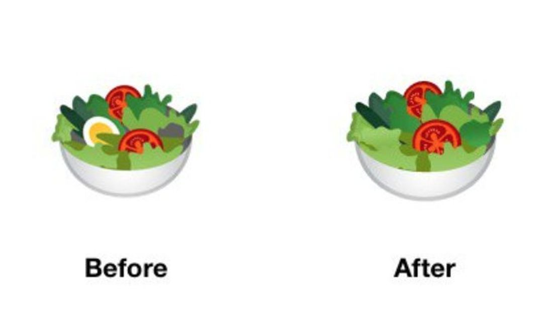 The salad emoji with and without egg. Pic: Google