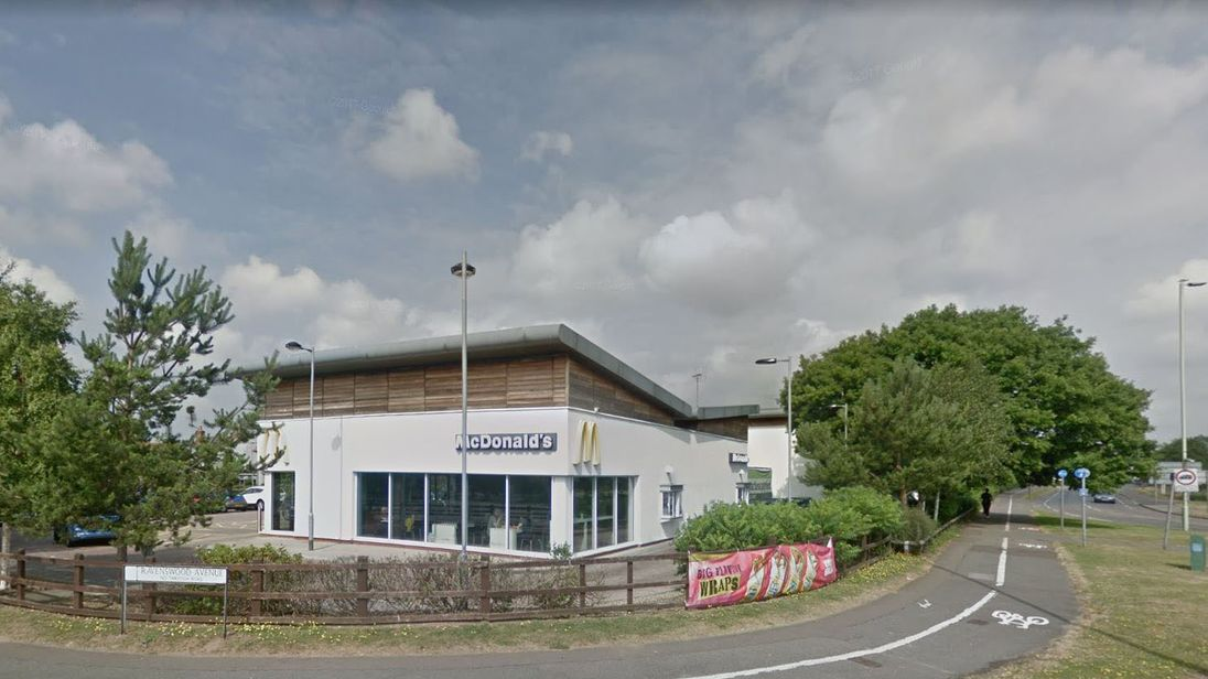 A teenager was stabbed at at McDonald's in Ipswich. Pic: Google Street View