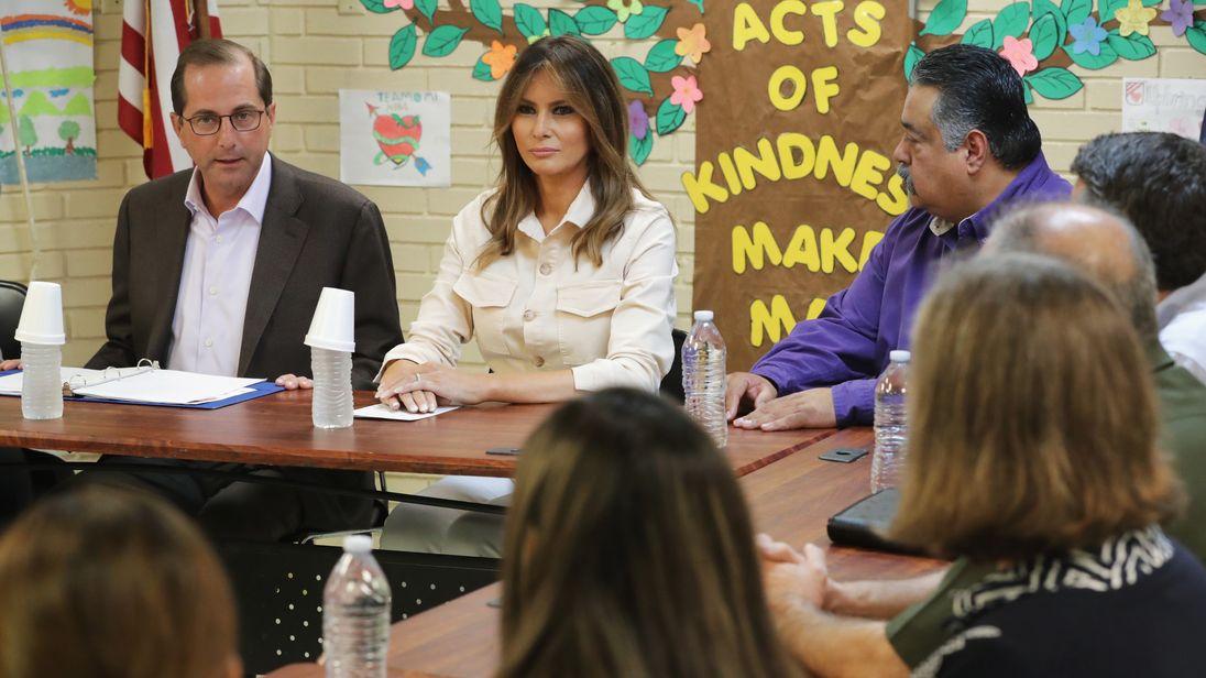 Melania Trump participates in a round table discussion