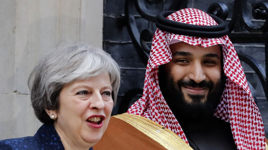 Theresa May and Mohammed bin Salman