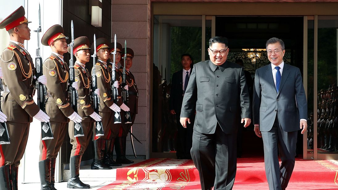 The South and North Korean leaders pictured during their second meeting