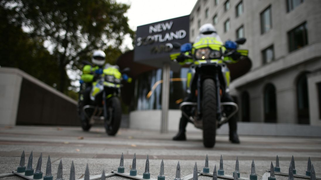 Metropolitan Police officers demonstrate a new device aimed at combating moped enabled crimes, following a briefing at New Scotland Yard in London
