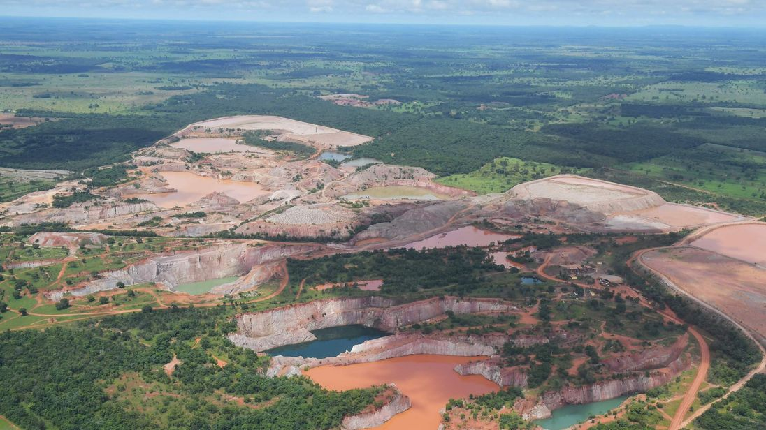 Aerial view of mining activity, at the Pantanal wetlands, in Mato Grosso state, Brazil on March 8, 2018
