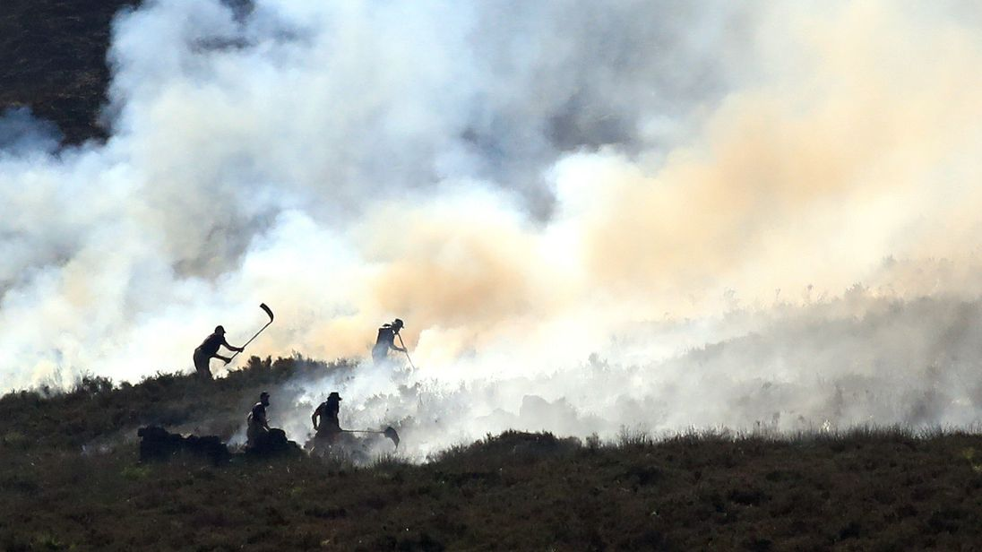 Crews tackle moorland blaze near Winter Hill TV mast
