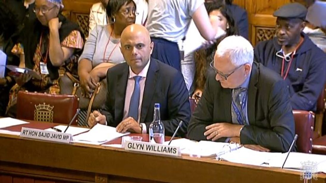 Sajid Javid and Glyn Williams answered questions from MPs and Lords about the Windrush scandal