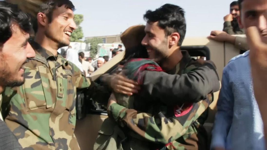Dozens of Taliban fighters in Afghanistan's northern province of Kunduz celebrated the Islamic Eid al Fitr holiday on Saturday greeting Afghan security forces and local residents. The celebrations took place after the Taliban announced a three-day