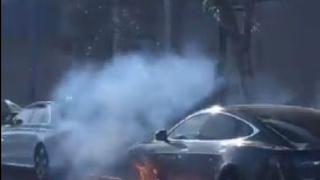 Tesla auto catches fire 'out of the blue' in California traffic