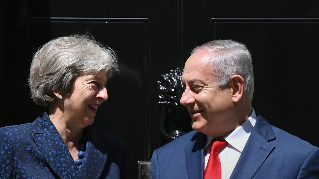 Theresa May greets Israeli Prime Minister Benjamin Netanyahu at 10 Downing Street