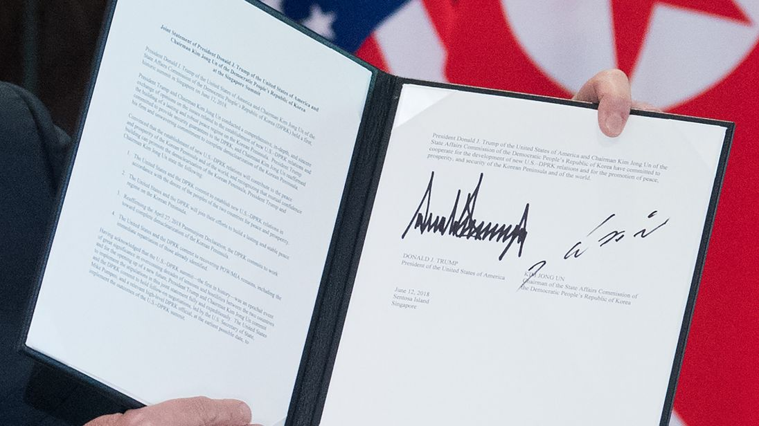 The signed statement from Donald Trump and Kim Jong-Un