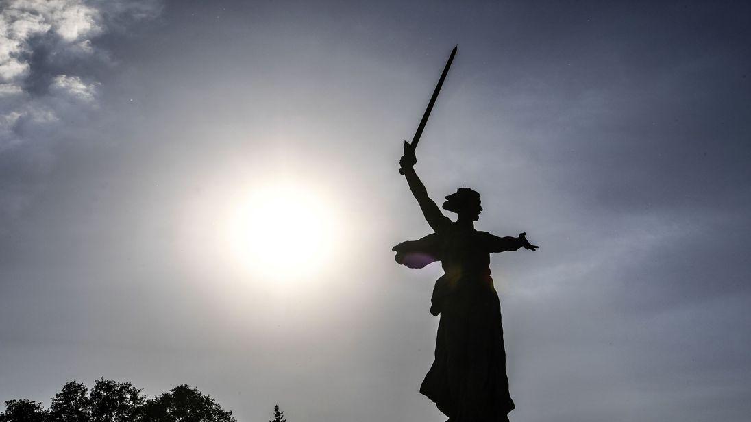 'The Motherland Calls' statue in the Stalingrad World War II memorial Mamayev Kurgan