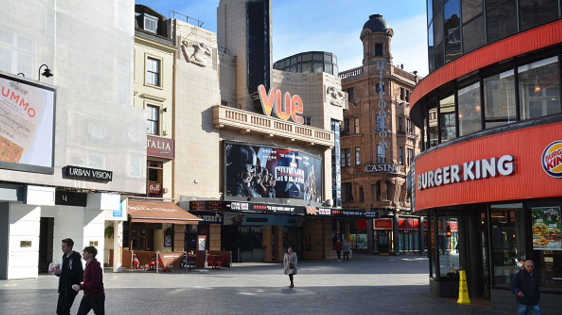 A view of the Vue cinema in Leicester Square on May 1, 2016 in London, England.