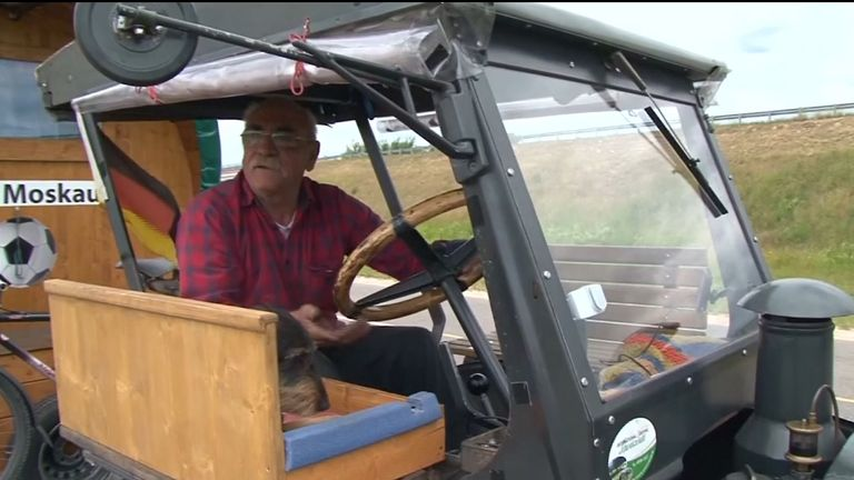 Watch as Germany fan Hubert Wirth and his dog Hexe make their way from Pforzheim to Moscow by tractor - a distance of almost 1,500 miles