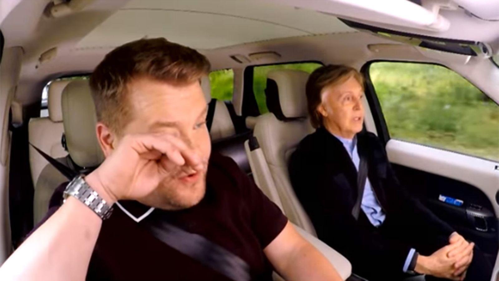 James Corden cries during Paul McCartney carpool