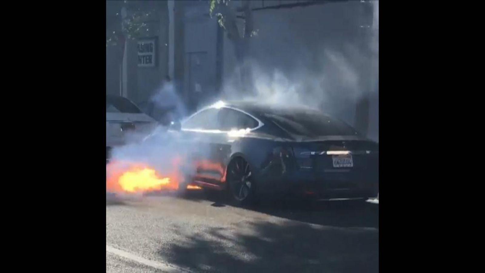 Tesla Model S Fire Filmed By Actress News Uk Video News