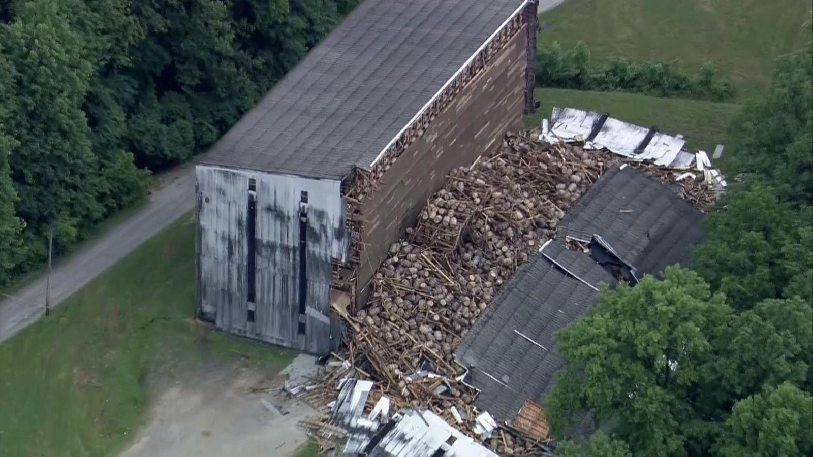 9 000 Whiskey Barrels Crash To Ground In Warehouse