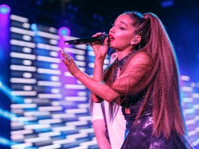 LOS ANGELES, CA - JUNE 02: (EDITORIAL USE ONLY. NO COMMERCIAL USE) Ariana Grande performs onstage during the 2018 iHeartRadio Wango Tango by AT&T at Banc of California Stadium on June 2, 2018 in Los Angeles, California. (Photo by Rich Polk/Getty Images for iHeartMedia )