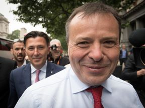 Leave.EU founder Arron Banks arives at Portcullis House in Westminster, London where he is due to give evidence to the Digital, Culture, Media and Sport Committee inquiry into fake news. PRESS ASSOCIATION Photo. Picture date: Tuesday June 12, 2018. See PA story POLITICS Cambridge. Photo credit should read: Stefan Rousseau/PA Wire