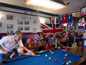 Britons pictured in a bar in the Costa Del Sol
