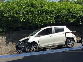A damaged silver was visible at the scene. Pic: Robin Schiller/Independent.ie