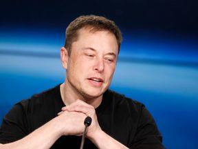 SpaceX founder Musk speaks at a press conference following the first launch of a SpaceX Falcon Heavy