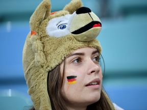 A Germany fan at the World Cup game against Sweden