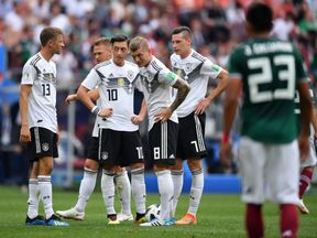Germany players dejected after Mexico's first goal