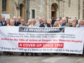 Members of the families of people who died at Gosport War Memorial Hospital outside Portsmouth Cathedral