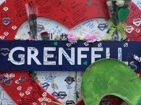 on the one year anniversary of the Grenfell Tower fire on June 14, 2018 in London, England. In one of Britain's worst urban tragedies since World War II, a devastating fire broke out in the 24-storey Grenfell Tower on June 14, 2017 where 72 people died from the blaze in the public housing building of North Kensington area of London.