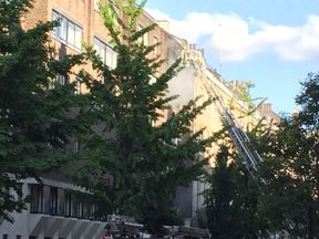 The London Fire Brigade was called to a blaze in Harley Street, London. Pic: Cyclist_London/Twitter