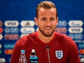 England's forward Harry Kane talks during a press conference in Volgograd on June 17, 2018, on the eve of the Russia 2018 World Cup Group G football match between Tunisia and England. (Photo by NICOLAS ASFOURI / AFP) (Photo credit should read NICOLAS ASFOURI/AFP/Getty Images)