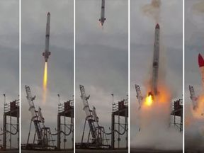 Video grabs from Interstellars Technologies shows failed launch of the rocket MOMO-2 in Taiki, Kokkaido prefecture