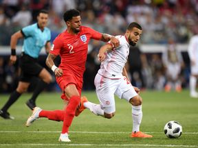 during the 2018 FIFA World Cup Russia group G match between Tunisia and England at Volgograd Arena on June 18, 2018 in Volgograd, Russia.