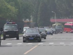 The motorcade in Beijing believed to be carrying Kim Jong Un
