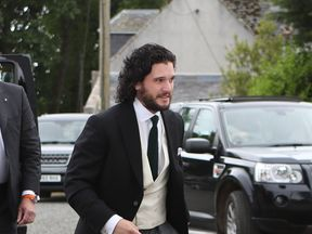 Kit Harington arrives at church in Aberdeenshire for his wedding to Rose Leslie