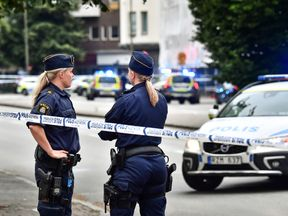 Shots were heard close to a police station