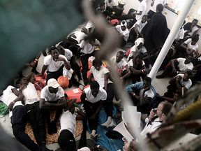 Migrants on  MV Aquarius