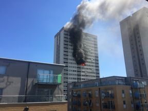 Tower block fire in Mile End