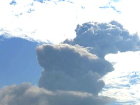 Smoke rises from a volcano of Shinmoedake, in Miyazaki, Japan