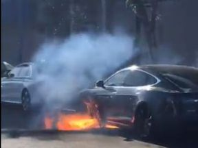 Actress films moment Telsa Model S catches fire. Pic: marycmccormack/Twitter