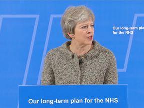 Theresa May giving NHS speech