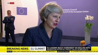 Theresa May speaks to Sky's Beth Rigby after migration deal at EU summit