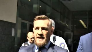 Conor McGregor speaks outside New York court house