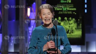 Glenda Jackson accepts the award for Best Performance by an Actress in a Leading Role in a Play for Three Tall Women