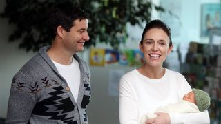 New Zealand Prime Minister Jacinda Ardern and partner Clarke Gayford pose with their baby daugther Neve