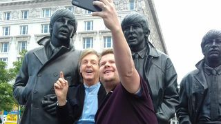 Sir Paul McCartney and James Corden make time for a selfie with the Fab Four. Pic. Kenny Brew
