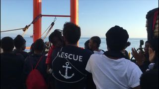 A convoy composed of 630 migrants docked in Valencia, Spain on the morning of Sunday, June 17.  This footage shows people on the SOS Mediterranee Aquarius, one of the ships making up the convoy, cheering, dancing and listening to translators as Valencia's shores draw closer.