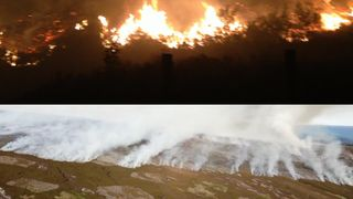 A major incident has been declared after a huge moorland fire forced dozens of residents to flee their homes in Manchester.